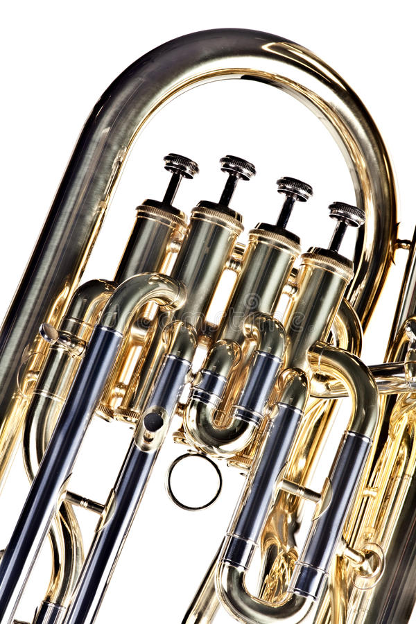 euphonium odosobniony tuba biel obraz stock