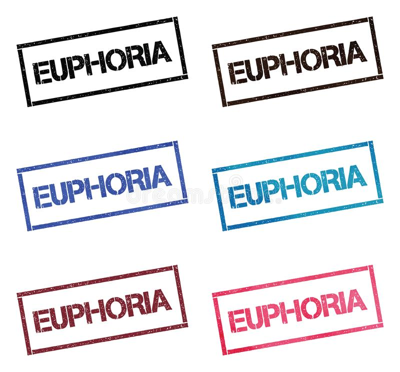 EUPHORIA rectangular stamp collection. Textured seals with text isolated on white backgound. Stamps in turquoise, red, blue, black and sepia colors. Colourful stock illustration