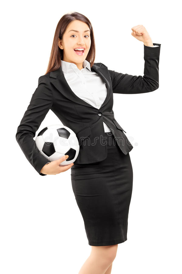 Download Euphoric Businesswoman Holding A Soccer Ball And Gesturing Stock Image - Image: 34582931