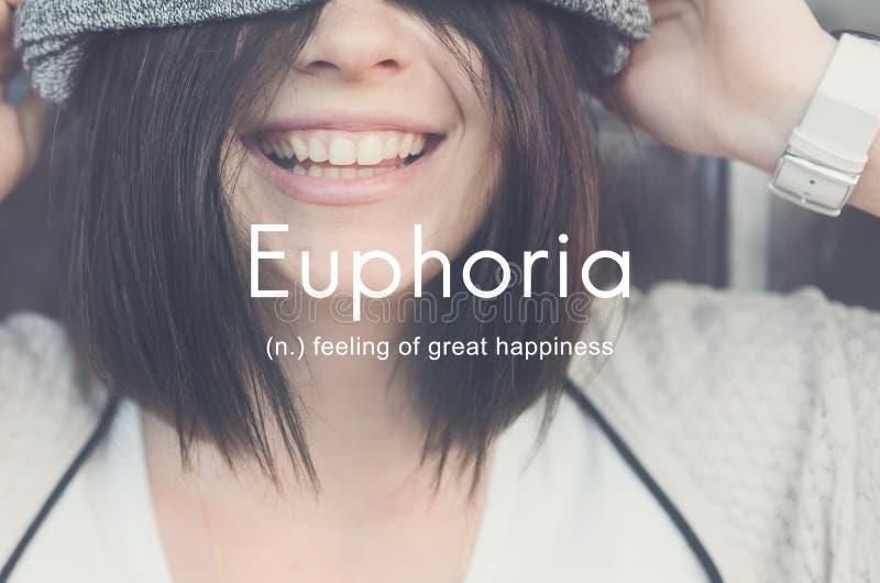 Euphorie, die großem Vergnügens-Glück-Konzept glaubt lizenzfreie stockfotos