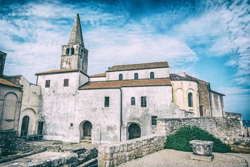 Euphrasian Basilica in Porec, Croatia, analog filter. Wonderful Euphrasian Basilica in Porec, Istria, Croatia. Religious architecture, Unesco. Travel destination stock photos
