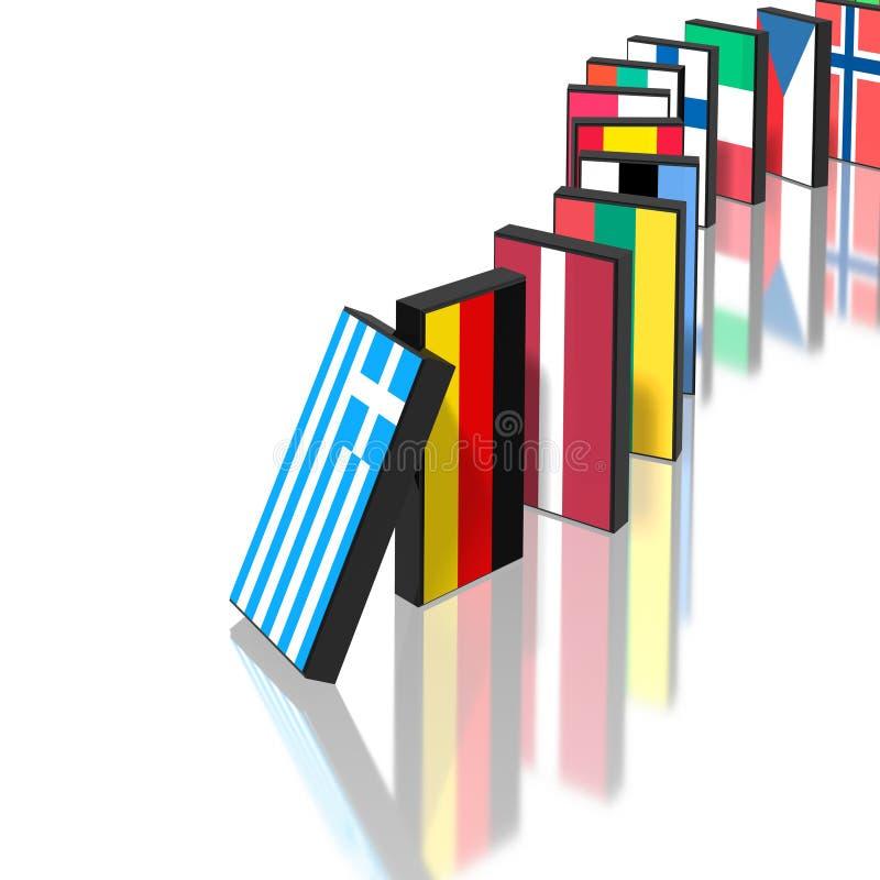 Eupopean Crisis Domino Effect Royalty Free Stock Photography