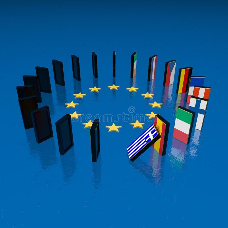 Eupopean Krisen-Dominoeffekt vektor abbildung