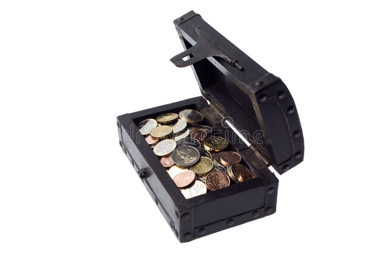 Eur. Treasure chest full of eur coins on white royalty free stock photography