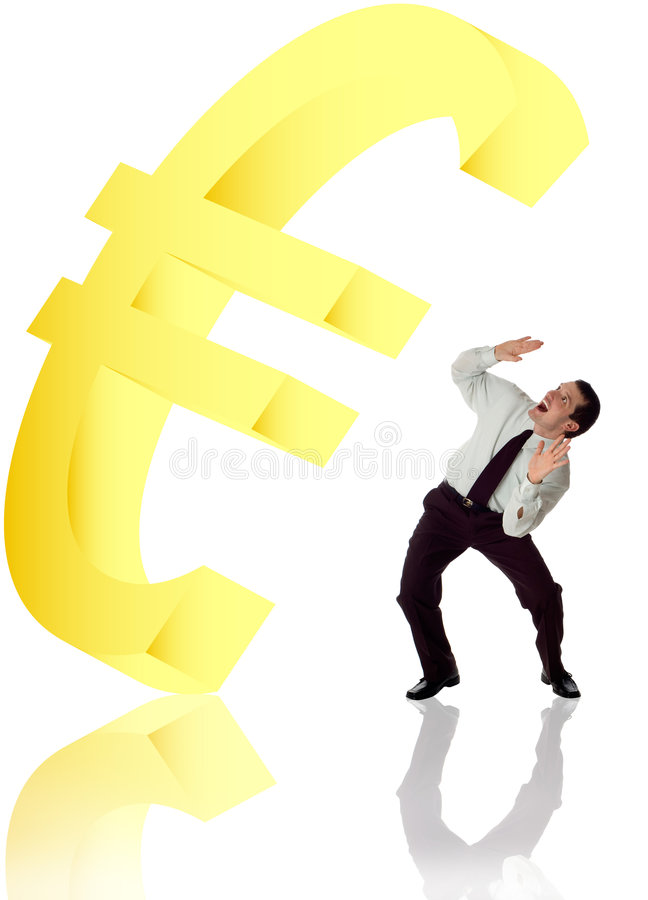 Eur. Symbol falling on business men concept stock photo