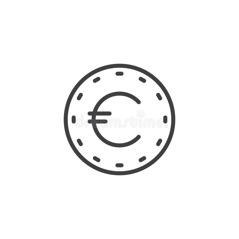 EUR coin line icon. Linear style sign for mobile concept and web design. Euro money outline vector icon. Business and finance symbol, logo illustration. Pixel stock illustration