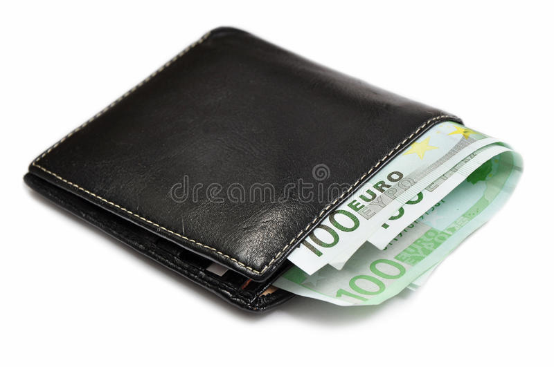 Eur money in wallet. A hundred eur in wallet isolated in white background, concept of personal finances stock images