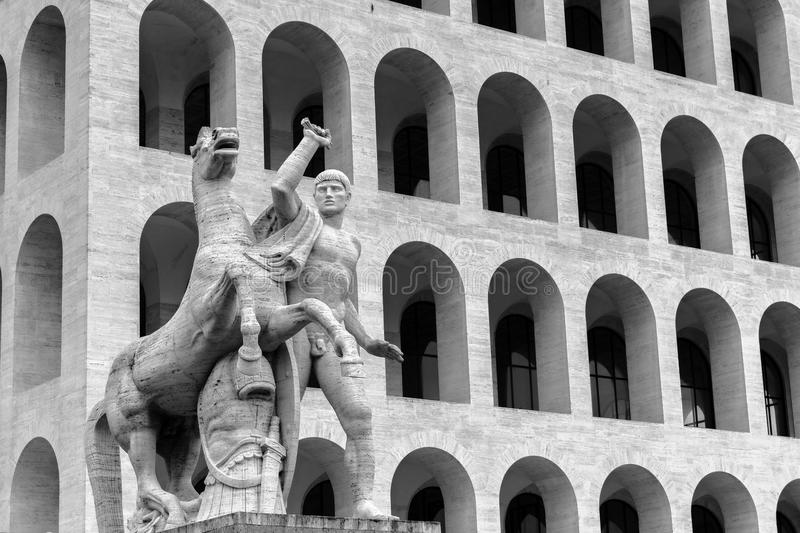 EUR in Rome. Black and White Vintage Travel Photography: Neoclassical Architecture in Rome at EUR royalty free stock image