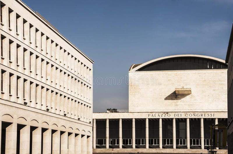 Eur Rome. ROME - March 29: modern architecture in Eur district on March 29, 2014 in Rome, Italy royalty free stock photos