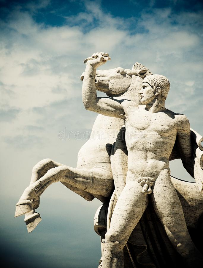 EUR Statue. Statue outside the Square Colosseum, EUR, Rome stock photography