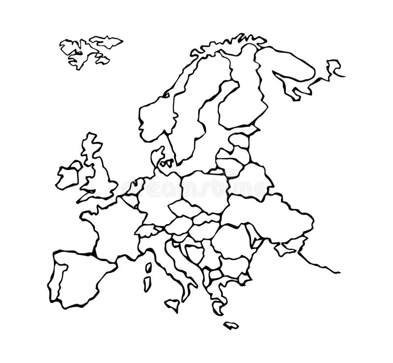 Eurasia. Continent with the contours of the countries. Vector drawing stock illustration