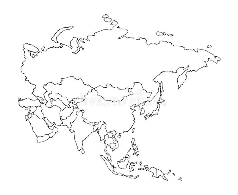 Eurasia. Continent with the contours of the countries. Vector drawing royalty free illustration