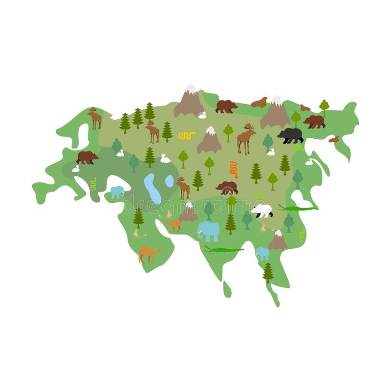 Eurasia continent Map Animal and plants. flora and fauna on main stock illustration