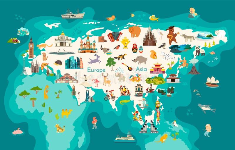 Eurasia continent, world map with landmarks vector cartoon illustration vector illustration