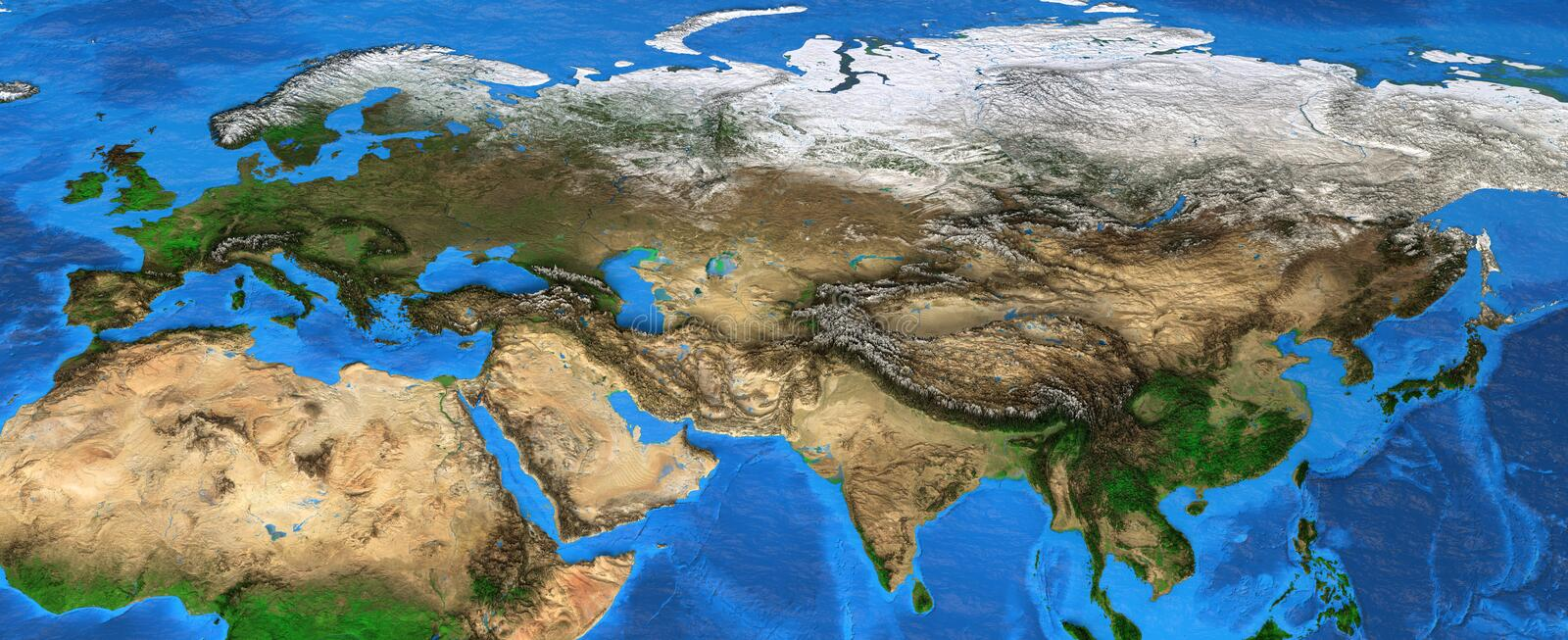 Eurasia - High resolution map of Europe and Asia. Map of Eurasia. Detailed satellite view of the Earth and its landforms, focused on Europe and Asia. Elements of royalty free stock photography