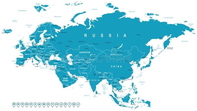 Eurasia - kaart en navigatieetiketten - illustratie stock illustratie