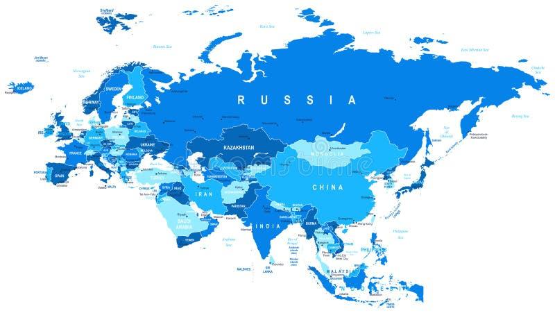 Eurasia - kaart - illustratie stock illustratie