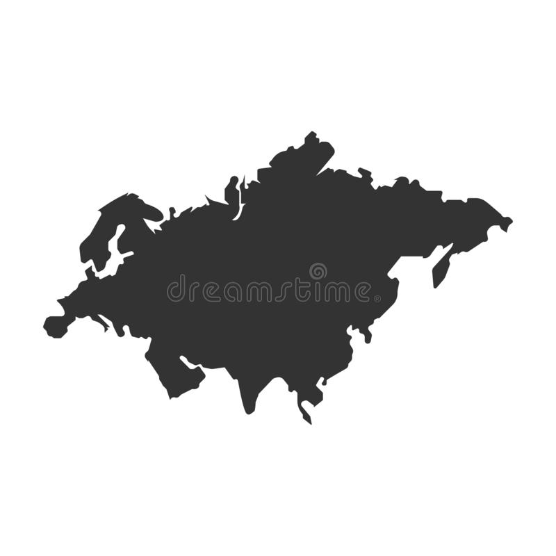 Eurasia map vector icon. simple Flat design. Eurasia map vector icon. Flat design eps10 royalty free illustration