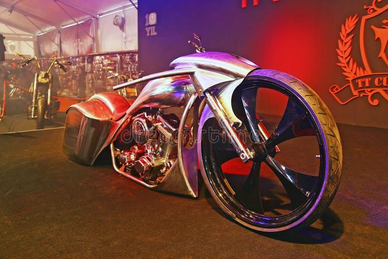 Eurasia Moto Bike Expo 2015, Istanbul. ISTANBUL, TURKEY - FEBRUARY 27, 2015: TT Custom Choppers motorcycle in Eurasia Moto Bike Expo in Istanbul Expo Center royalty free stock images