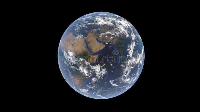 Eurasia och Afrika, arabiska halvön i mitten bak molnen på jordklotet, isolerad jord, 3D tolkning, beståndsdelarna stock illustrationer