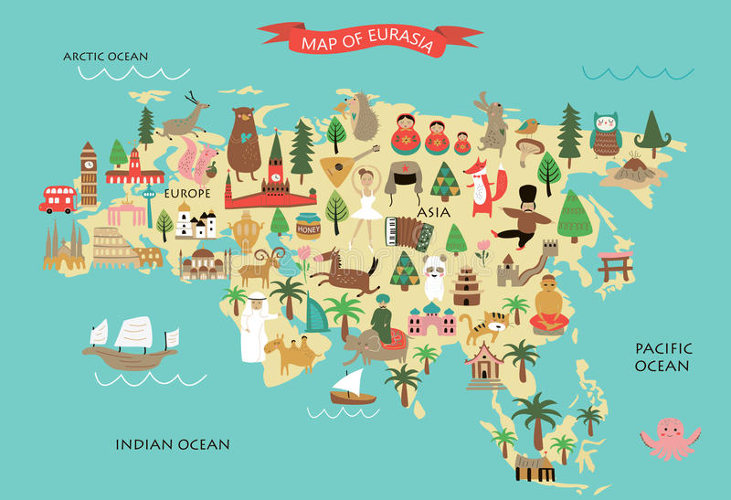 Eurasia. Vector illustration of Eurasia with its animals and national peculiarities royalty free illustration