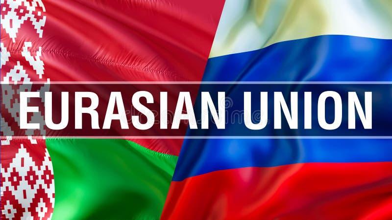 Eurasian union på Ryssland och Vitryssland flaggor Vinkande flaggadesign, tolkning 3D Ryssland Vitryssland flaggabild, tapetbild  royaltyfri illustrationer