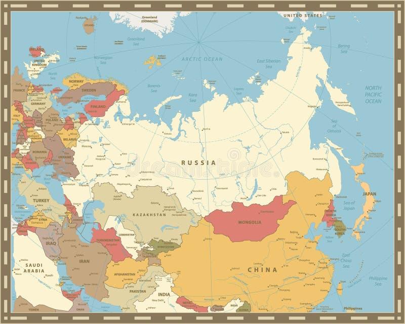 Karte Europa Asien.Karte Eurasiens Europa Asien Auf Weinlesehintergrund Stock
