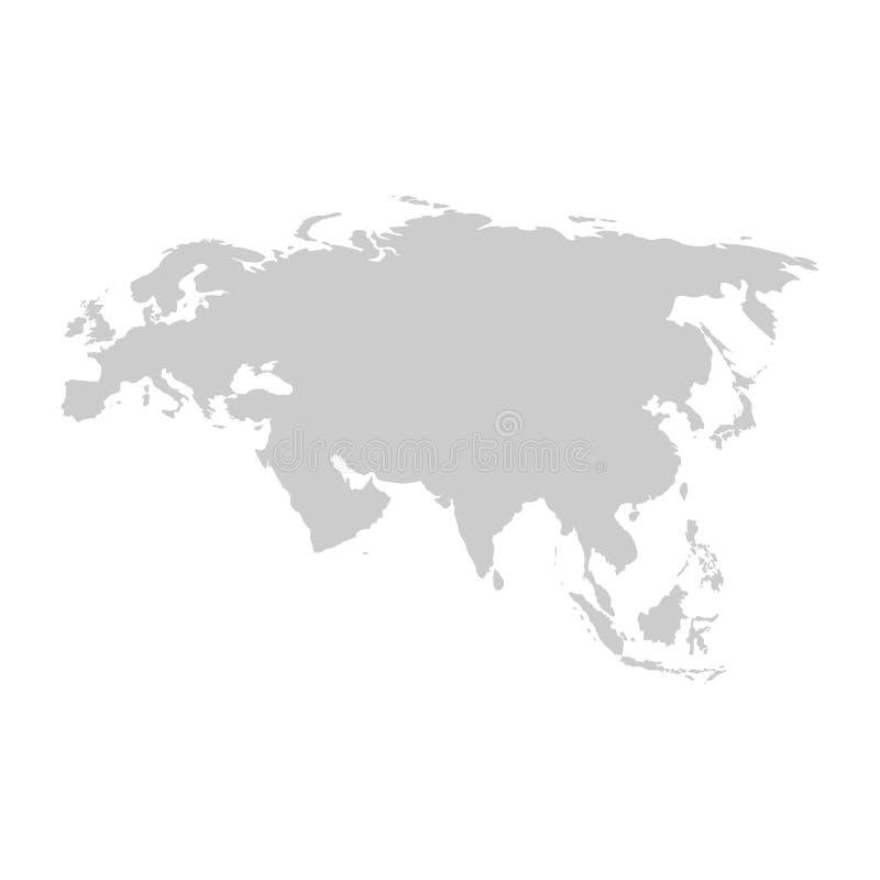 Eurasien-Kontinent Graue Vektorschablone stock abbildung