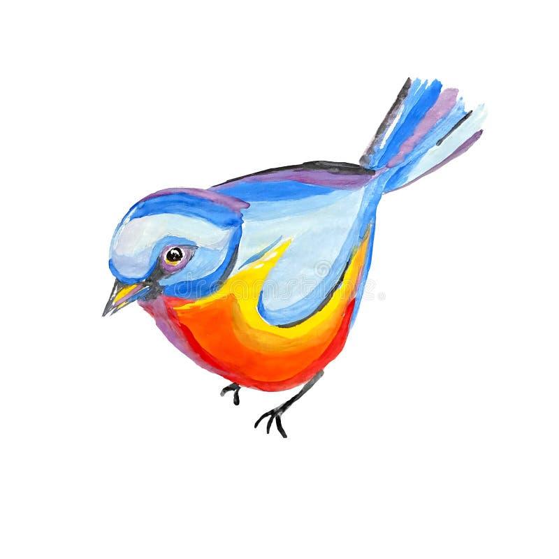 Eurazjatyckiej akwareli błękitny tit odizolowywający na białym tle Abstrakcjonistyczny ptasi titmouse z błękit głową i klatką pie royalty ilustracja
