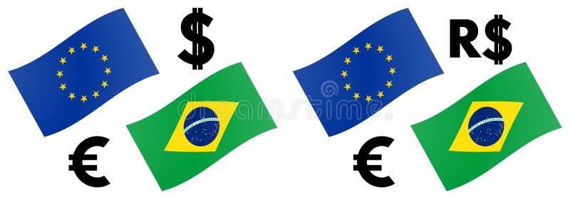 EURBRL-forex de vectorillustratie van het muntpaar De vlag van de EU en van Brazilië, met Euro en Echt cifraosymbool vector illustratie
