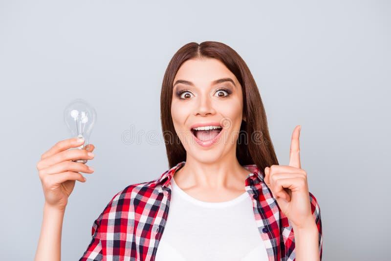 Eureka! Haben Sie eine Idee! Erfolgskonzept Junge nette Studentin lizenzfreies stockfoto