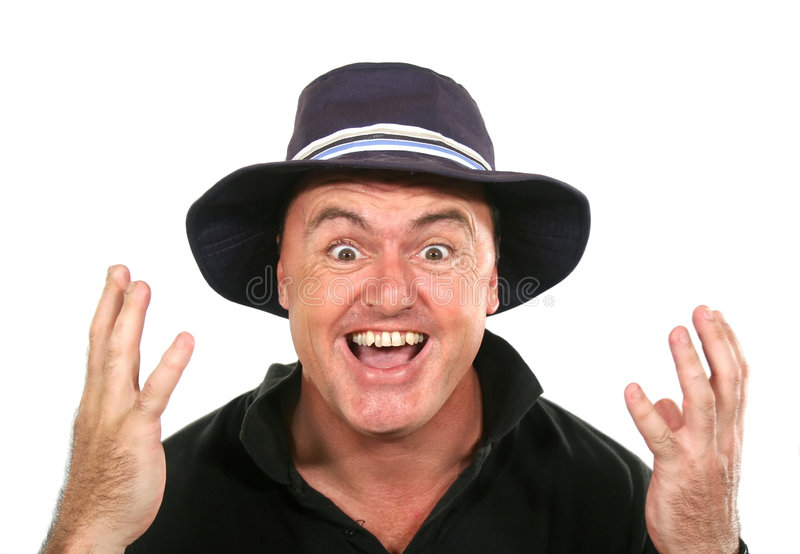 Eureka Man In Hat. Man in hat experiences a eureka moment stock photos