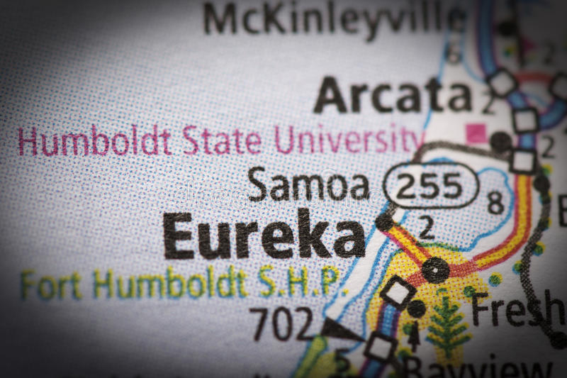 Eureka on map. Closeup of Eureka, California on a road map of the United States royalty free stock photography