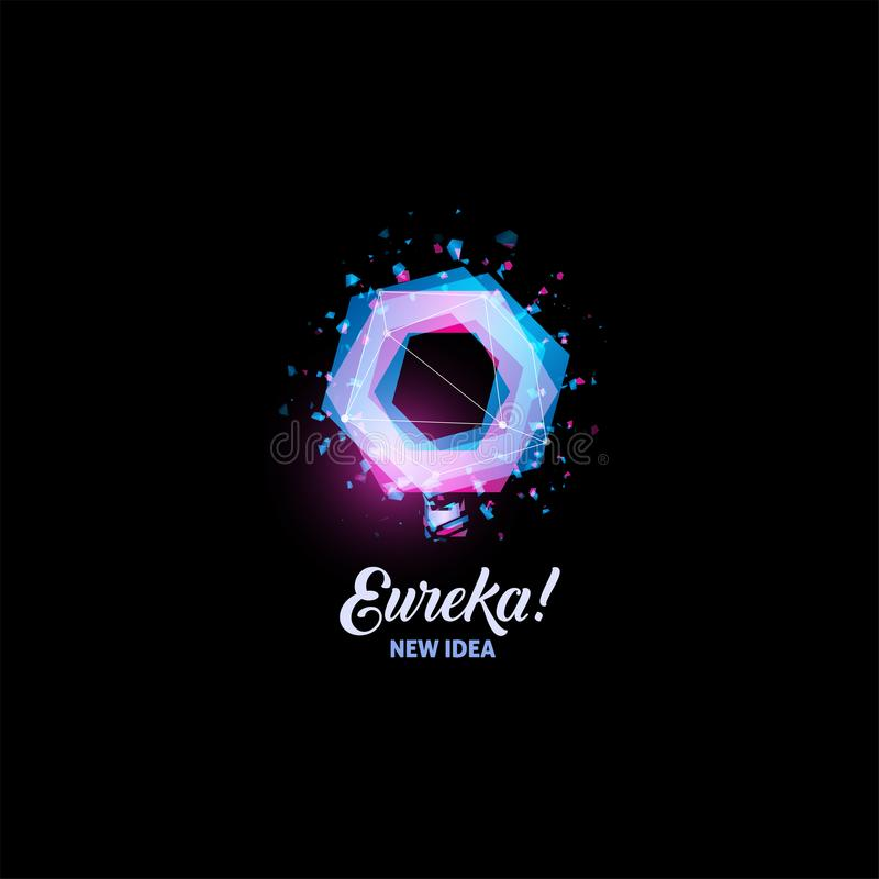 Eureka, nieuw ideeembleem, gloeilampen abstract vectorpictogram De geïsoleerde roze en blauwe vorm van kleurenveelhoeken, gestile vector illustratie