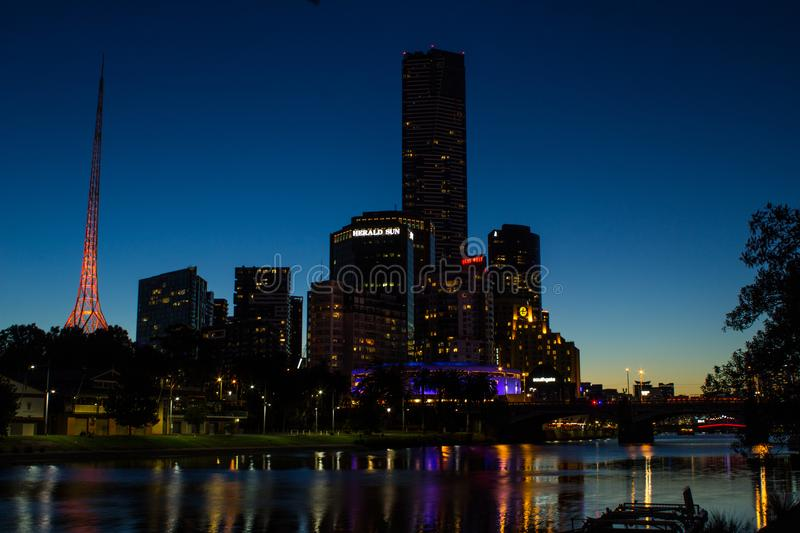 Eureka Skydeck Post Sunset. The Eureka Skydeck and the Yarra riverside are a perfect setting for a romantic walk
