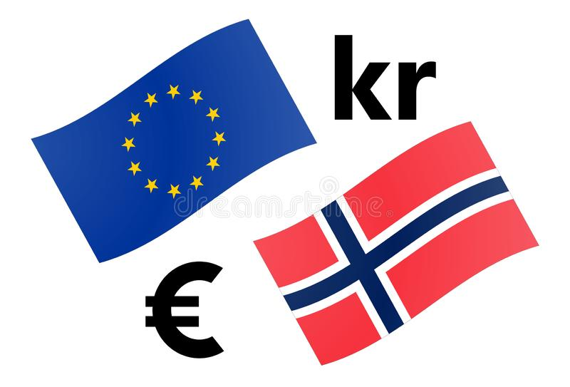 EURNOK forex currency pair vector illustration. EU and Norway flag, with Euro and Krone symbol stock illustration