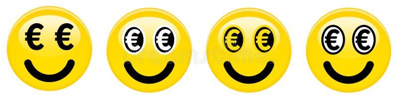 Euro émoticône souriante Emoji 3d jaune avec d'euro symboles noirs et blancs au lieu des yeux illustration libre de droits