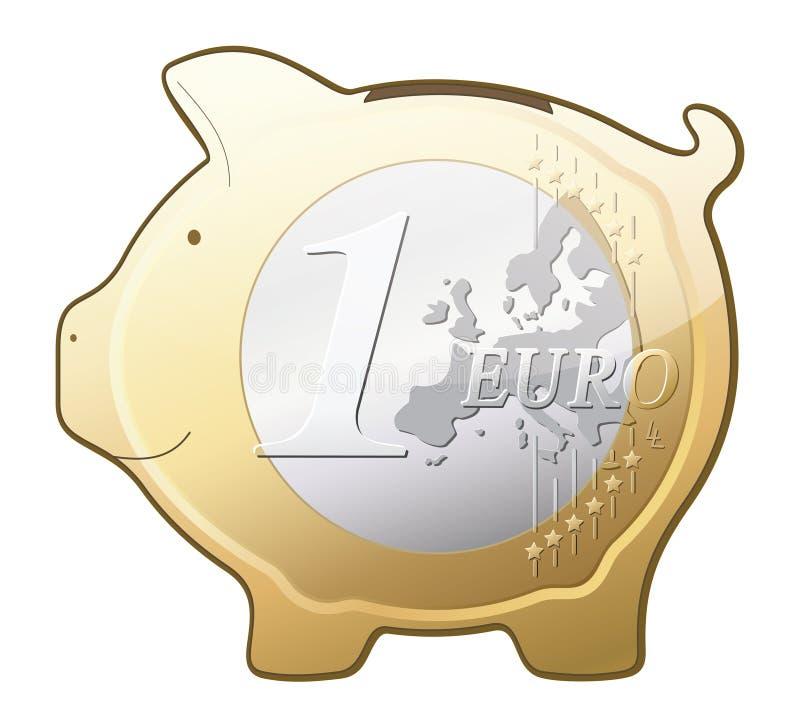 Euro- ícone do vetor do banco piggy da moeda ilustração royalty free