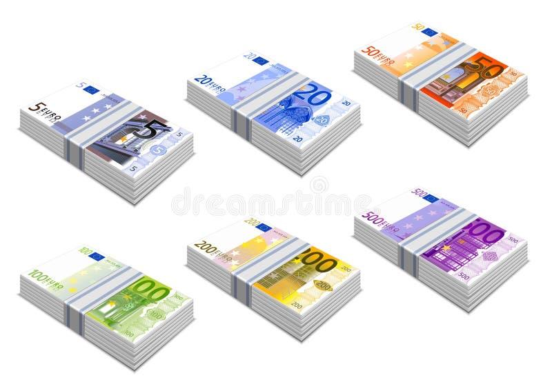 Euro- ícones ilustração do vetor