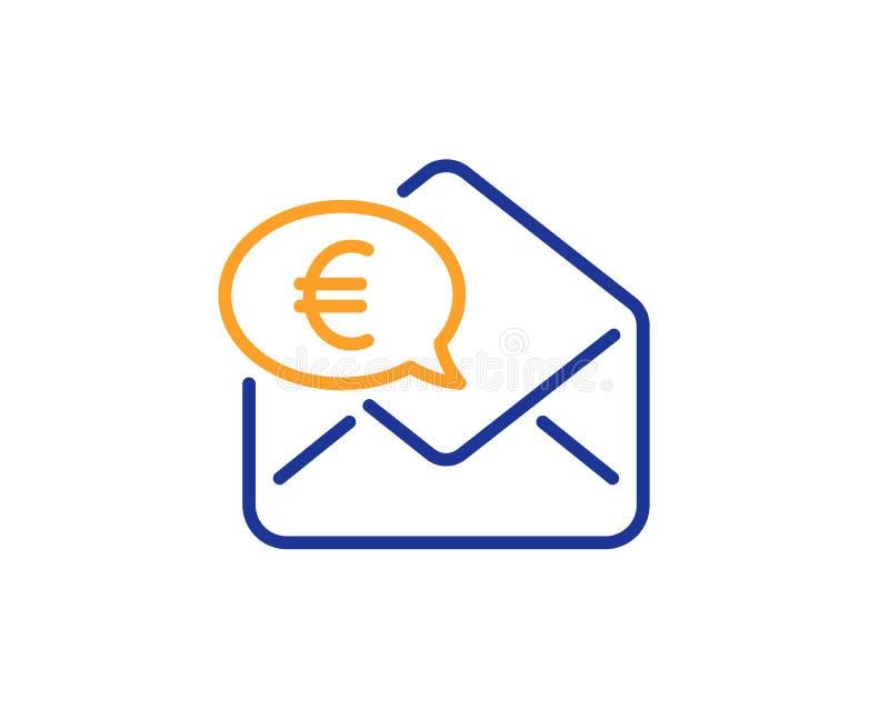 Euro über Postlinie Ikone Senden Sie oder empfangen Sie Geldzeichen Vektor stock abbildung