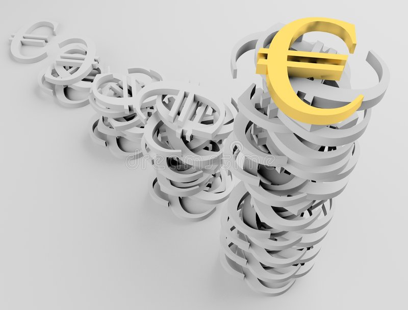 euro 1 znak royalty ilustracja