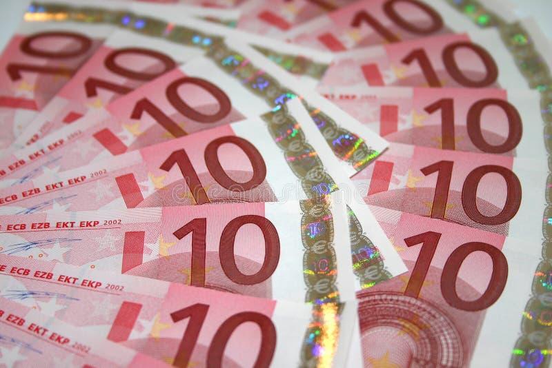 Euro 10 Rechnungen lizenzfreies stockbild