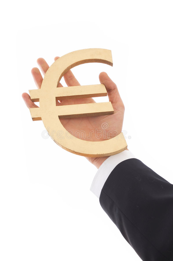 Euro. Businessman holding euro sign on white royalty free stock image