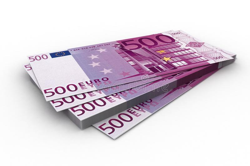 Euro. Batch of denominations face value 500 euros on white a background royalty free illustration