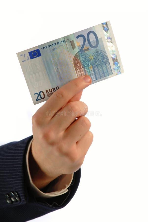 Euro 20 in der Hand, vertikal stockbild