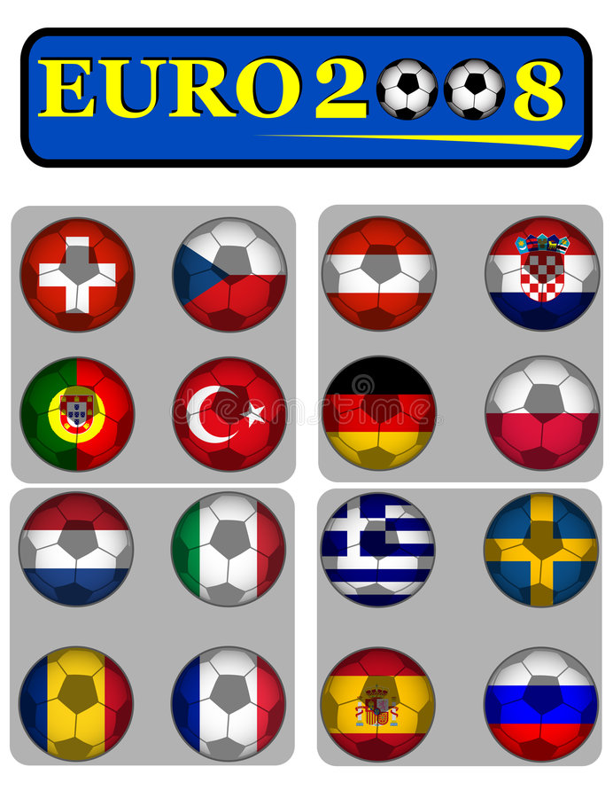 Euro 2008. Championship of soccer in Austria and Switzerland with flags royalty free illustration