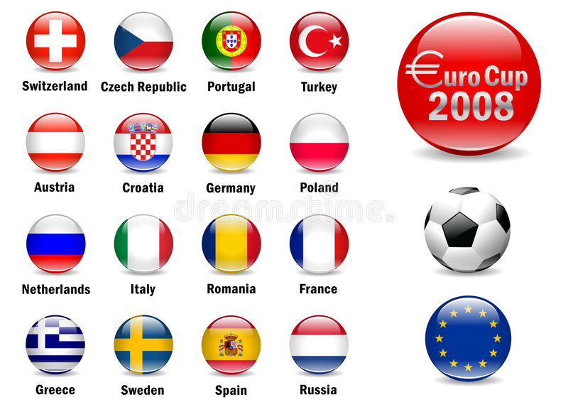 Euro 2008. Euro Cup 2008 Football Championship , Hires in different background stock illustration