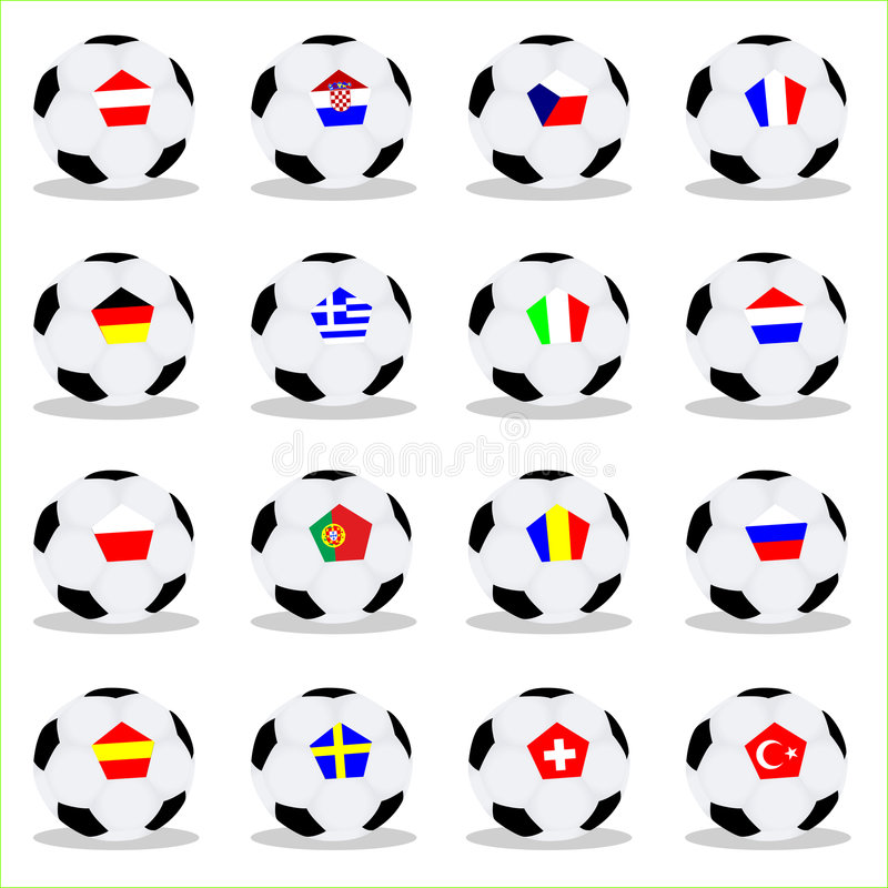 Euro 2008 balls. Vector illustration of euro 2008 balls with the flags stock illustration