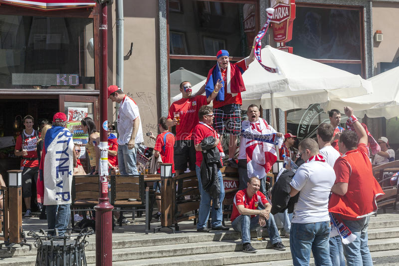 Euro 2012 - La Polonia. I ventilatori del Ceco. fotografia stock libera da diritti