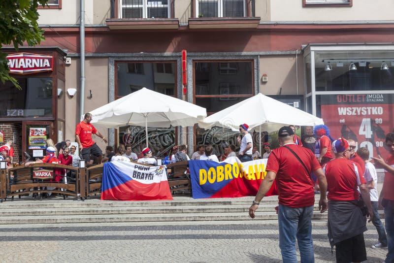 Euro 2012 - La Polonia. I ventilatori del Ceco. fotografie stock libere da diritti